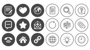 Mail, contact icons. Communication signs. Mail, contact icons. Favorite, like and internet signs. E-mail, chat message and phone call symbols. Document, Globe Stock Photo