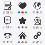 Mail, contact icons. Communication signs. Mail, contact icons. Favorite, like and internet signs. E-mail, chat message and phone call symbols. Flat black, red Royalty Free Stock Photo