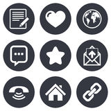 Mail, contact icons. Communication signs. Mail, contact icons. Favorite, like and internet signs. E-mail, chat message and phone call symbols. Gray flat circle Royalty Free Stock Image