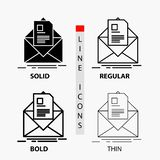 Mail, contract, letter, email, briefing Icon in Thin, Regular, Bold Line and Glyph Style. Vector illustration. Vector EPS10 Abstract Template background royalty free illustration