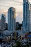 Mail de Metrotown dans Burnaby, Vancouver, pendant le coucher du soleil image stock