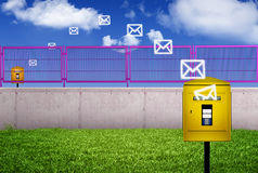 Mail delivery. Colorful illustration of the process of mail leaving one mail box and traveling to another distant one Royalty Free Stock Photography