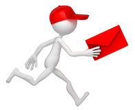 Mail delivery. Postman running with envelope. Isolated on white background Royalty Free Stock Photo
