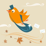 Mail delivery bird. Abstract mail delivery bird Stock Image