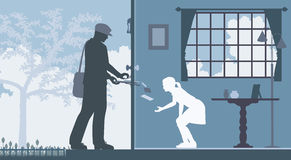 Mail delivery. Editable vector illustration of a mailman delivering letters to a house with a girl waiting inside Stock Photos
