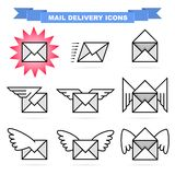 Mail delivery icons Royalty Free Stock Photo