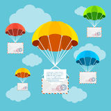 Mail Delivery Parachute in Sky. Vector. Mail or Airmail Delivery Parachute in Sky. Concept Of Fast Correspondence Vector illustration Stock Photography