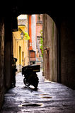 Mail delivery at typical backstreet at downtown of Ferrara Stock Photo