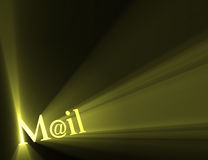 Mail at email symbol sun light flare Royalty Free Stock Photos