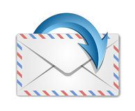 Mail Envelope. And blue circular arrow Stock Photo