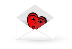 Mail envelope with abstract heart. Mail envelope opened with abstract love heart. Vector illustration Royalty Free Stock Image