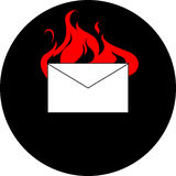 Mail envelope burning Stock Photo