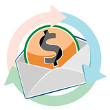 Mail envelope with dollar currency Stock Image