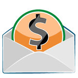 Mail envelope with dollar currency sign Royalty Free Stock Image