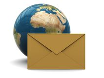 Mail envelope and earth globe Royalty Free Stock Photos