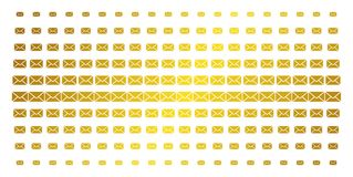 Mail Envelope Golden Halftone Effect. Mail envelope icon golden halftone pattern. Vector mail envelope items are arranged into halftone array with inclined gold Royalty Free Stock Photo