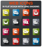 Mail and envelope icon set. Mail and envelope icons set in flat design with long shadow Stock Photos