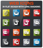 Mail and envelope icon set. Mail and envelope icons set in flat design with long shadow Royalty Free Stock Photo