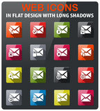 Mail and envelope icon set. Mail and envelope icons set in flat design with long shadow Stock Images