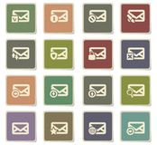 Mail and envelope icon set. Mail and envelope  icons for user interface design Royalty Free Stock Photo