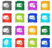 Mail and envelope icon set. Mail and envelope web icons in grunge style for user interface design Royalty Free Stock Image