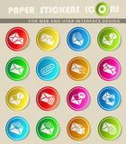 Mail and envelope icon set. Mail and envelope web icons for user interface design Royalty Free Stock Photos