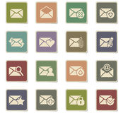 Mail and envelope icon set. Mail and envelope web icons for user interface design Stock Photos
