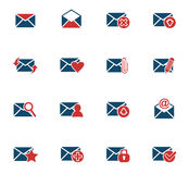 Mail and envelope icon set. Mail and envelope web icons for user interface design Stock Images