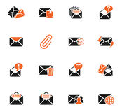 Mail and envelope icon set. Mail and envelope web icons for user interface design Royalty Free Stock Image