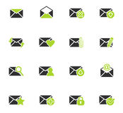 Mail and envelope icon set. Mail and envelope web icons for user interface design Royalty Free Stock Photo