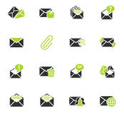 Mail and envelope icon set. Mail and envelope web icons for user interface design Stock Image