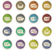 Mail and envelope icon set. Mail and envelope web icons for user interface design Stock Photo