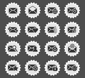 Mail and envelope icon set. Mail and envelope web icons for user interface design Stock Photography