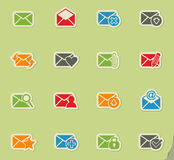 Mail and envelope icon set Stock Image