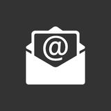 Mail envelope icon vector isolated on black background. Royalty Free Stock Image