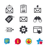 Mail envelope icons. Message document symbols. Stock Photography