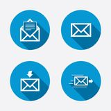 Mail envelope icons. Message document symbols. Mail envelope icons. Message document delivery symbol. Post office letter signs. Inbox and outbox message icons Stock Photo