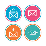 Mail envelope icons. Message document symbols. Royalty Free Stock Photography