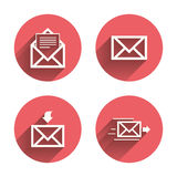 Mail envelope icons. Message document symbols. Mail envelope icons. Message document delivery symbol. Post office letter signs. Inbox and outbox message icons Royalty Free Stock Photo