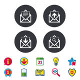 Mail envelope icons. Message document symbols. Mail envelope icons. Find message document symbol. Post office letter signs. Inbox and outbox message icons Royalty Free Stock Photo