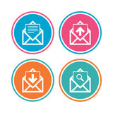 Mail envelope icons. Message document symbols. Mail envelope icons. Find message document symbol. Post office letter signs. Inbox and outbox message icons Stock Image