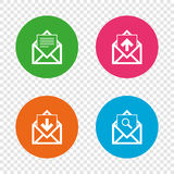 Mail envelope icons. Message document symbols. Mail envelope icons. Find message document symbol. Post office letter signs. Inbox and outbox message icons Stock Images