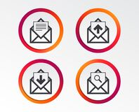 Mail envelope icons. Message document symbols. Mail envelope icons. Find message document symbol. Post office letter signs. Inbox and outbox message icons Royalty Free Stock Image