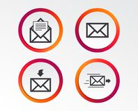 Mail envelope icons. Message document symbols. Mail envelope icons. Message document delivery symbol. Post office letter signs. Inbox and outbox message icons Stock Photography