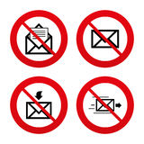 Mail envelope icons. Message document symbols. No, Ban or Stop signs. Mail envelope icons. Message document delivery symbol. Post office letter signs. Inbox and Stock Image