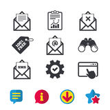 Mail envelope icons. Message document symbols. Post office letter signs. Delete mail and SMS message. Browser window, Report and Service signs. Binoculars Royalty Free Stock Photo