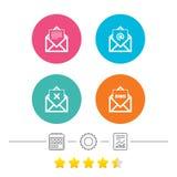 Mail envelope icons. Message document symbols. Royalty Free Stock Photo