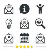 Mail envelope icons. Message document symbols. Royalty Free Stock Image
