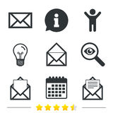 Mail envelope icons. Message document symbols. Stock Images