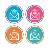 Mail envelope icons. Message document symbols. Stock Photos